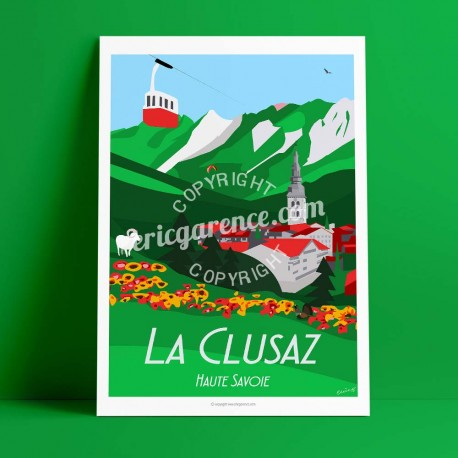 Poster La Clusaz en été by Eric Garence, Alps Haute Savoie poster vintage illustration drawing french Summer mountain cable car