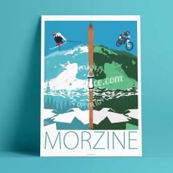 Affiche Morzine, Eté / Hiver par Eric Garence, Alpes Haute Savoie France rétro vintage illustration dessin niçois Vtt cross para