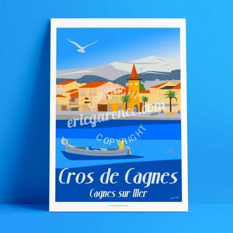 Affiche Le Cros de Cagnes par Eric Garence, Côte d'Azur France rétro vintage illustration dessin niçois Lou cros pecheur village
