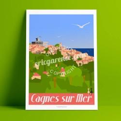 Affiche Le Petit Montmartre par Eric Garence, Côte d'Azur France art galerie artiste contemporain art-déco Renoir Colettes nice
