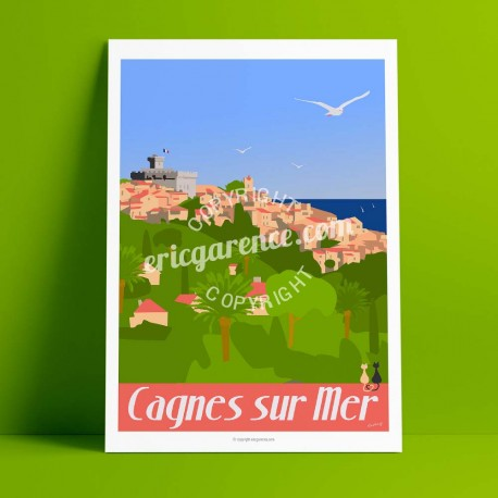 Poster Le Petit Montmartre by Eric Garence, French Riviera art gallery artist contemporary collection Renoir Colettes nice metro