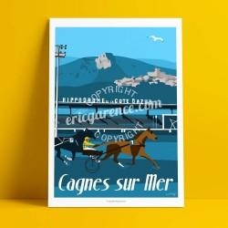 Affiche Ourasi gagne le grand criterium de vitesse de Cagnes par Eric Garence, Côte d'Azur France tableau décoration idée cadeau