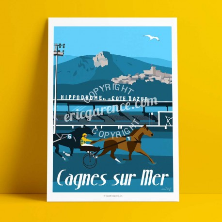 Poster Ourasi gagne le grand criterium de vitesse de Cagnes by Eric Garence, French Riviera painting decoration gift luxury idea