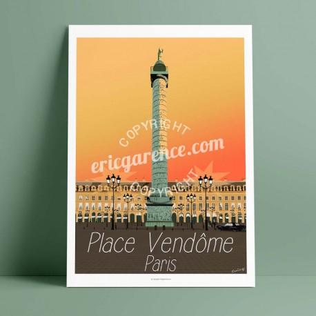 Affiche Place Vendôme  par Eric Garence, Paris Ile de France 1er 75001 rétro vintage illustration dessin niçois colonne cartier