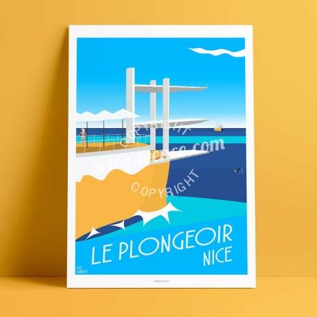 Affiche Le Plongeoir à Nice par Eric Garence, Côte d'Azur France rétro vintage illustration dessin niçois la réserve la pinup le