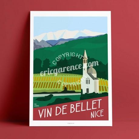 Affiche Le Vin de Bellet à Nice par Eric Garence, Côte d'Azur France rétro vintage illustration dessin niçois toasc Crémat Saque