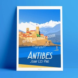 Poster Antibes et la paddle Girl by Eric Garence, French Riviera luxe instagram facebook twitter bonjourlaffiche Mountain sea ra