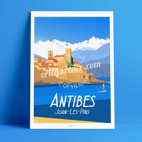 Affiche Antibes et la paddle Girl par Eric Garence, Côte d'Azur France jetset instagram facebook twitter bonjourlaffiche Montagn