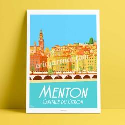 Affiche Menton par Eric Garence, Côte d'Azur France alu dibond plexiglass papier original limité Fête Agrumes chars corso parade