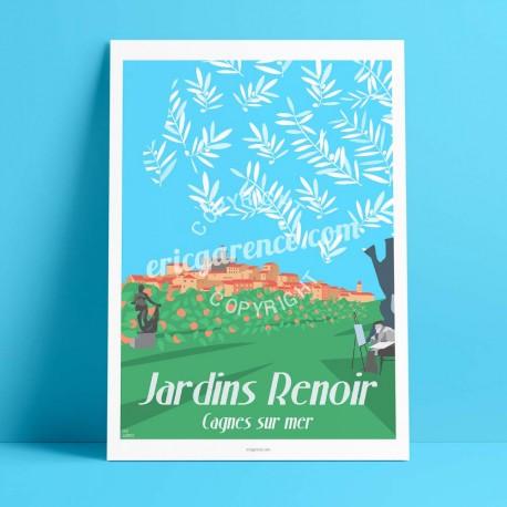 Affiche Cagnes par Eric Garence, Côte d'Azur France affichiste savignac roger broders publicité pub Renoir Colettes nice métropo