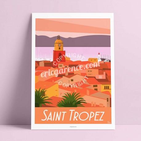 Affiche Saint Tropez Coucher de soleil par Eric Garence, Provence Côte d'Azur Var luxe français made in France déco frenchie ora