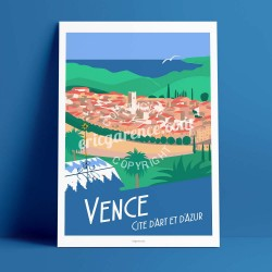 Poster Vence by Eric Garence, French Riviera french made in France deco frenchie collection Matisse chapel rosary village artist
