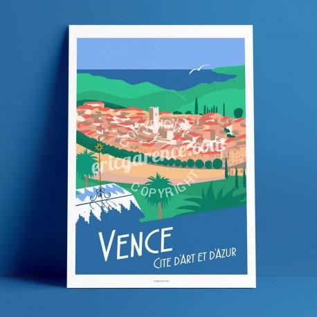 Affiche Vence par Eric Garence, Côte d'Azur France luxe français made in France déco frenchie Matisse chapelle rosaire village a