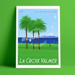 Affiche La Croix Valmer par Eric Garence, Provence Côte d'Azur Var affichiste savignac roger broders publicité pub palmier vigne
