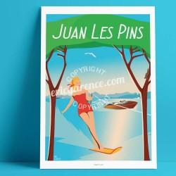 Affiche Juan-les-pins par Eric Garence, Côte d'Azur France rétro vintage illustration dessin niçois Ski nautique gould pinède ja