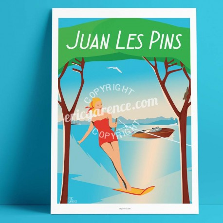 Poster Juan-les-pins by Eric Garence, French Riviera painting decoration gift luxury idea Water skiing gould pine forest jazz sq