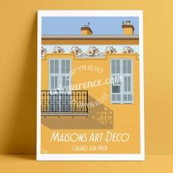 Affiche Maison à Frise à Cagnes par Eric Garence, Côte d'Azur France jetset instagram facebook twitter bonjourlaffiche Art déco