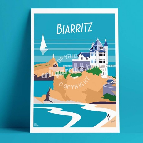 Affiche Biarritz, le rocher de la vierge par Eric Garence, Côte Basque, côte atlantique France affichiste savignac roger broders