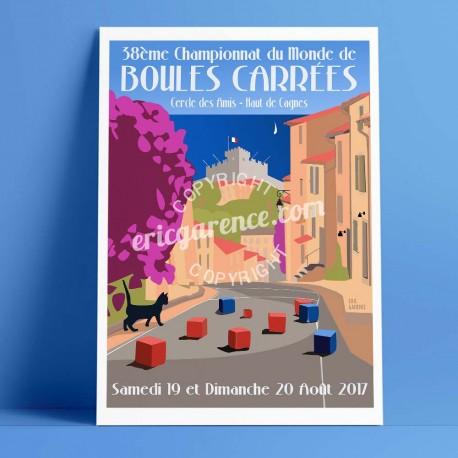 Affiche Championnat du monde de boules carrées 2017 à Cagnes par Eric Garence, Côte d'Azur France alu dibond plexiglass papier o