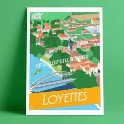 Affiche Loyettes par Eric Garence, Auvergne Rhone Alpes Ain art galerie artiste contemporain art-déco grenouille lyon isere ain
