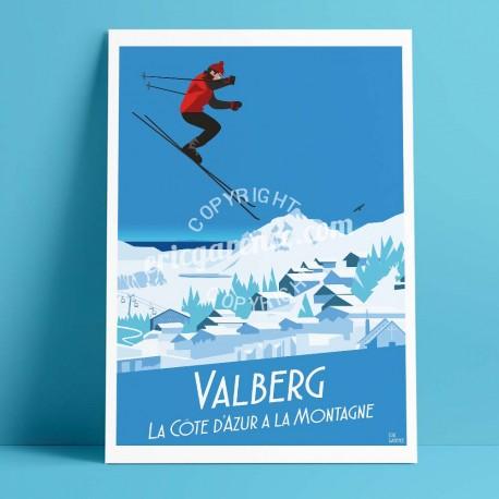 Affiche Valberg par Eric Garence, Côte d'Azur France rétro vintage illustration dessin niçois Hotel suisse alpes neige
