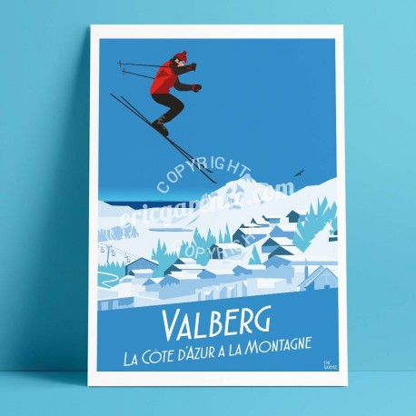 Poster Valberg by Eric Garence, French Riviera painting decoration gift luxury idea Swiss Alps Snow Hotel