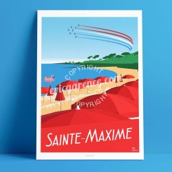 Poster Sainte Maxime by Eric Garence, Provence French Riviera var poster vintage illustration drawing french beach red sea pine