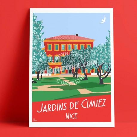 Affiche Les jardins des arènes de cimiez à Nicepar Eric Garence, Côte d'Azur France jetset instagram facebook twitter bonjourlaf