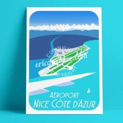 Affiche Aéroport de Nice par Eric Garence, Côte d'Azur France affichiste savignac roger broders publicité pub ccinca alpes merca