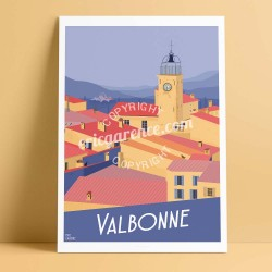 Poster Valbonne by Eric Garence, French Riviera travel memories holydays Pinup jet set sophia antipolis village the authentic ar