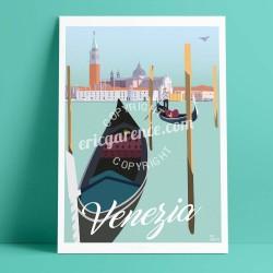 Affiche Venise par Eric Garence, Italie Venezia rétro vintage illustration dessin niçois gondole gondolier canotier lagune roman