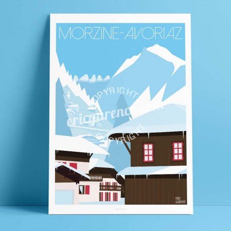 Poster Morzine Avoriaz et le dahu by Eric Garence, Alps Haute Savoie painting decoration gift luxury idea Winter mountain dahu c