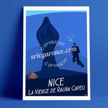Affiche Le Plongeur et la vierge à rauba capeu à Nicepar Eric Garence, Côte d'Azur France rétro vintage illustration dessin niço