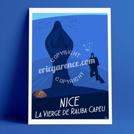 Poster Le Plongeur et la vierge à rauba capeu à Niceby Eric Garence, French Riviera poster vintage illustration drawing french S