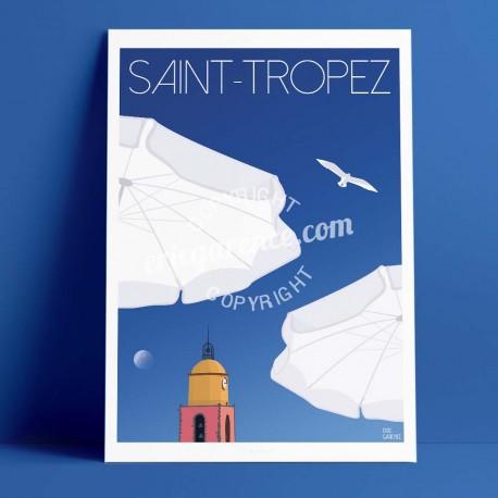 Affiche La lune et la plage à Saint Tropez par Eric Garence, Provence Côte d'Azur Var rétro vintage illustration dessin niçois b
