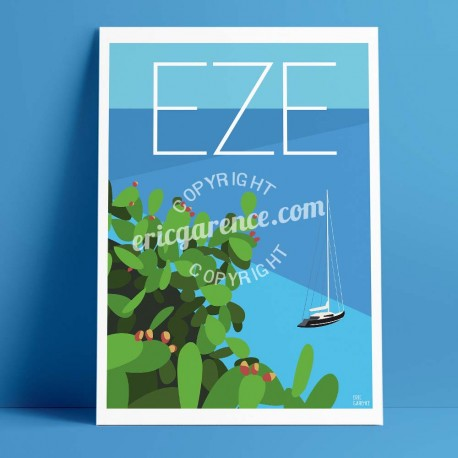 Poster Eze, Cactus et Voilier by Eric Garence, French Riviera travel memories holydays Pinup jet set Rich coastline sailing Medi