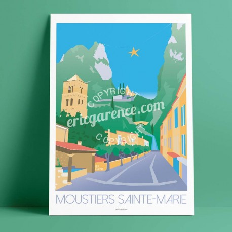 Poster Moustiers Sainte Marie by Eric Garence, Provence South Gorges du Verdon french made in France deco frenchie collection Cr