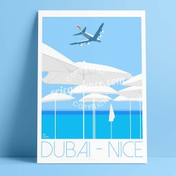 Poster Dubai - Nice en A380 by Eric Garence, French Riviera poster vintage illustration drawing french Airbus airline company em