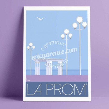 Poster La Prom' à Niceby Eric Garence, French Riviera luxe instagram facebook twitter bonjourlaffiche evening sweet lamapadaire