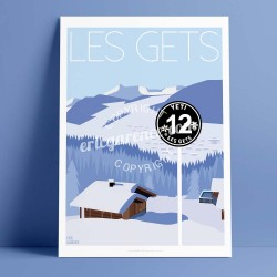 Poster Les Gets by Eric Garence, Alps Haute Savoie aluminim plexiglass paper original limited Ski sun doors resort snow mountain