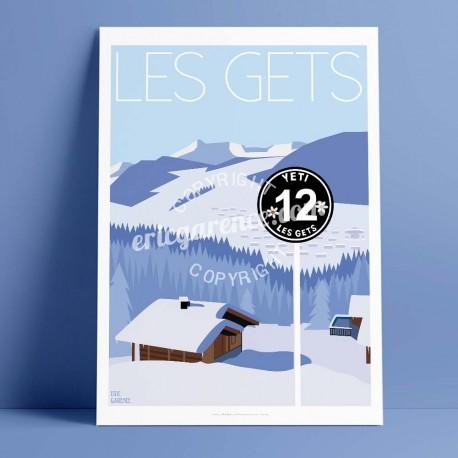 Poster Les Gets by Eric Garence, Alps Haute Savoie aluminim plexiglass paper original limited Ski sun doors resort snow mountain