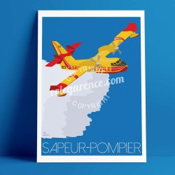 Poster Le Canadair by Eric Garence, Provence French Riviera var poster vintage illustration drawing french airplane bomber water