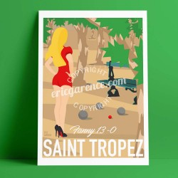 Poster Fanny à Saint Tropez by Eric Garence, Provence French Riviera var aluminim plexiglass paper original limited louboutin pe