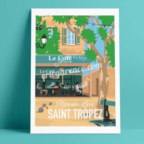 Poster Saint Tropez Place des Lices by Eric Garence, Provence French Riviera var painting decoration gift luxury idea petanque f