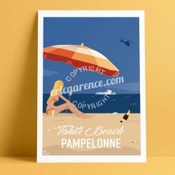 Poster Saint Tropez Pin up Tahiti Plage by Eric Garence, Provence French Riviera var art gallery artist contemporary collection