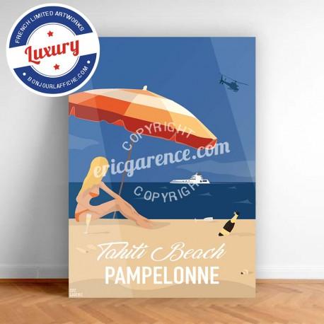 Poster Saint Tropez Pin up Tahiti Plage by Eric Garence, Provence French Riviera var travel memories holydays Pinup jet set Oran