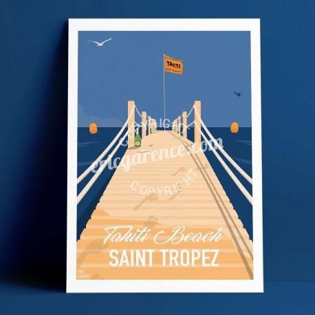 Affiche Saint Tropez Sea Sex and sun à Tahiti Plage par Eric Garence, Provence Côte d'Azur Var alu dibond plexiglass papier orig