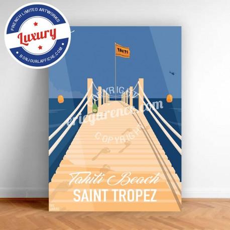 Affiche Saint Tropez Sea Sex and sun à Tahiti Plage par Eric Garence, Provence Côte d'Azur Var jetset instagram facebook twitter