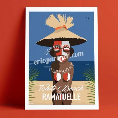 Affiche Saint Tropez Brigitte Bardot's Tiki par Eric Garence, Provence Côte d'Azur Var voyage souvenir vacances Pinup palace fil