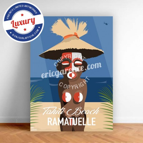 Poster Saint Tropez Brigitte Bardot's Tiki by Eric Garence, Provence French Riviera var aluminim plexiglass paper original limit